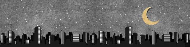 Het panoramasilhouetten gerecycleerde document van de stad ambacht. Royalty-vrije Stock Afbeeldingen