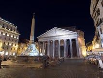Het Pantheon in Rome, Italië bij nacht Stock Fotografie