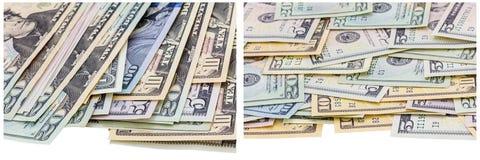 Het papiergeld factureert randen witte collage stock afbeeldingen