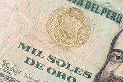 Het papiergeld van Peru Stock Foto
