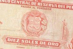 Het papiergeld van Peru Stock Fotografie
