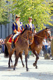 Het paraderen van Nederlandse Koninklijke Wachten op Paard Stock Foto