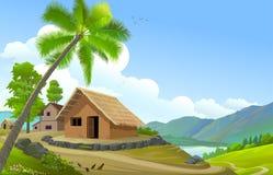 Het paradijshuis dichtbij een mooie mening van een rivier vector illustratie
