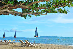 Het paraplustrand voor het ontspannen en de zon glanzen strand in Thai Royalty-vrije Stock Afbeeldingen