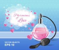 Het parfumfles van de manier roze elegantie met een nevel Feromonen van liefde Romantisch ontwerp Stock Fotografie