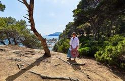 In het park dichtbij Lloret de Mar in Spanje stock foto's