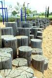In het park, houten stompen van verschillende hoogten royalty-vrije stock foto's