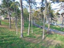 Het park Kalemegdan van Belgrado in het stadscentrum wordt geplaatst, Servië dat royalty-vrije stock foto's