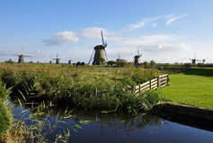 Het park Kinderdijk, Holland van de windmolen Stock Afbeeldingen