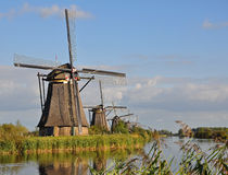 Het park Kinderdijk van de windmolen Stock Afbeelding