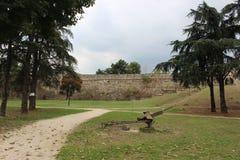 Het park naast skopjekasteel, skopje Macedonië Stock Afbeeldingen