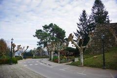 Het park ruïneert dichtbij van kasteel van Vigo, Vigo, Galicië, Spanje stock foto