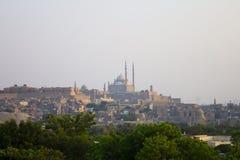 Het park van AlAzhar met de citadel van Kaïro op de achtergrond Stock Afbeeldingen