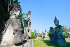 Het park van Boedha in Vientiane, Laos Het beroemde oriëntatiepunt o van de reistoerist Stock Afbeelding