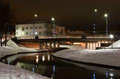 Het park van de de fotografiestad van de de winternacht Stock Afbeeldingen