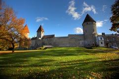 Het park van de herfst in de oude stad stock foto's