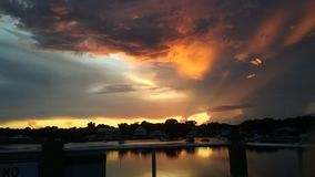 Het Park van de koningenbaai, Crystal River Florida Sunsets 60 Stock Afbeeldingen