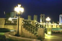 Het park van de nacht met voetgangersbrug royalty-vrije stock foto