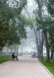 Het park van de stad in ochtendmist Royalty-vrije Stock Fotografie