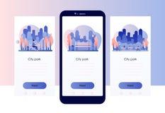 Het park van de stad Het schermmalplaatje voor mobiele smartphone Vlakke stijl stock illustratie