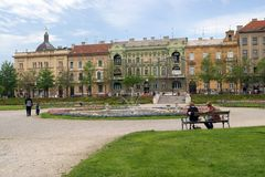 Het park van de stad in Zagreb Royalty-vrije Stock Foto
