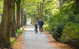 Het park van de Tiergartenstad in Berlijn, Duitsland Weergeven van een rijpe paar berijdende fietsen stock afbeeldingen