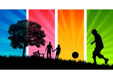 Het Park van de zomer (Mensen) vector illustratie
