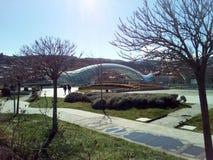 Het park van Georgia Tbilisi Europa en vredesbrug Stock Afbeeldingen