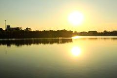 Het park van grote provincies is beroemd bij zonsondergang stock foto