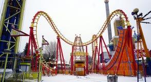 Het park van het achtbaanthema in Wenen Stock Afbeeldingen