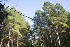 Het park van het kabelavontuur in een landschap van de de zomer bos toneel blauw hemel Het overwinnen van hindernissen en het ber Royalty-vrije Stock Foto