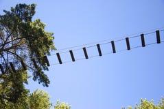 Het park van het kabelavontuur in een landschap van de de zomer bos toneel blauw hemel Het overwinnen van hindernissen en het ber Stock Foto's