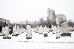 Het park van het Muzeonbeeldhouwwerk in Moskou in de winter royalty-vrije stock fotografie