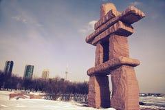 Het park van Toronto inukshuk Royalty-vrije Stock Fotografie