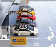 Het parkeerterrein rust met zonnepaneel, batterij en het laden post uit vector illustratie