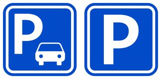 Het parkeren van pictogrammen van de teken de blauwe kleur met ontwerp twee vector illustratie