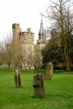 Het parkwhit van Bute kasteel op achtergrond, Cardiff. stock fotografie