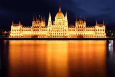 Het Parlement, Boedapest, Hongarije bij nacht Royalty-vrije Stock Foto