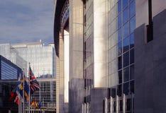 Het parlement dat van de EU Brussel België Europa bouwt Stock Afbeelding