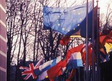 Het parlement dat van de EU Brussel België Europa bouwt Stock Fotografie