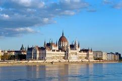 Het parlement Donau van Boedapest Stock Foto