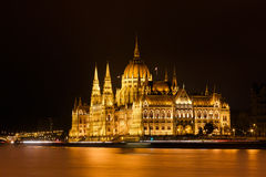 Het Parlement van Boedapest bij nacht Stock Foto