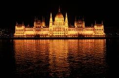 Het Parlement van Boedapest bij nacht Stock Afbeelding