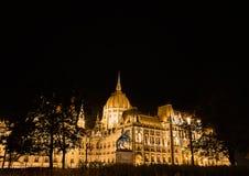 Het parlement van Boedapest in de nacht Stock Foto's