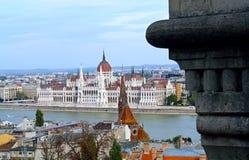Het parlement van Boedapest - hoogste mening stock afbeelding