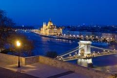 Het Parlement, van Buda Castle en van de Ketting Brug in één beeld, Boedapest, Hongarije Stock Afbeeldingen