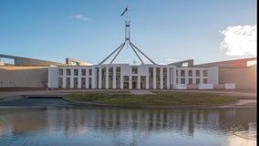 Het Parlement van Canberra huis hyperlapse stock video
