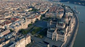 Het Parlement van Hongarije in Boedapest stock footage