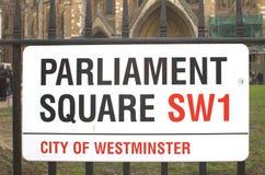 Het Parlement Vierkant teken in Londen, het UK Royalty-vrije Stock Afbeelding