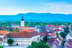 Het Parlement vierkant in Zagreb, hogere stad royalty-vrije stock foto